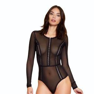 Hauty Hook Up  BodySuit Black Sheer NWT Size M